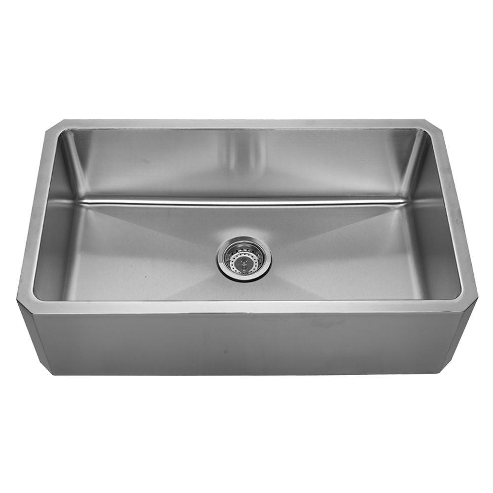 Whitehaus Collection Farmhouse Apron Front Stainless Steel 31-5/8 in. Single Basin Kitchen Sink in Brushed Stainless Steel