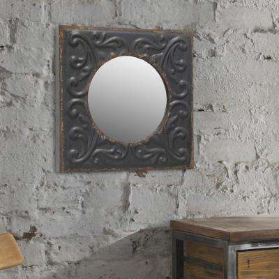 12 in. x 12 in. Black Metal Framed Mirror