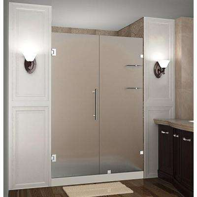 Nautis GS 55 in. x 72 in. Completely Frameless Hinged Shower Door with Frosted Glass and Glass Shelves in Chrome