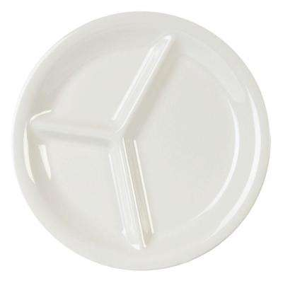 Coleur 10-1/4 in. 3-Compartment Plate in Ivory (12-Piece)
