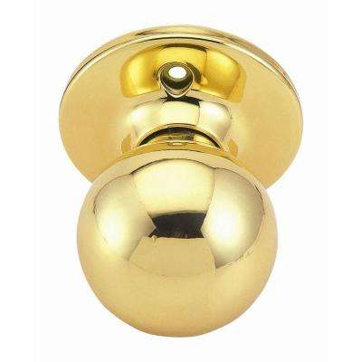 Ball Polished Brass Dummy Door Knob