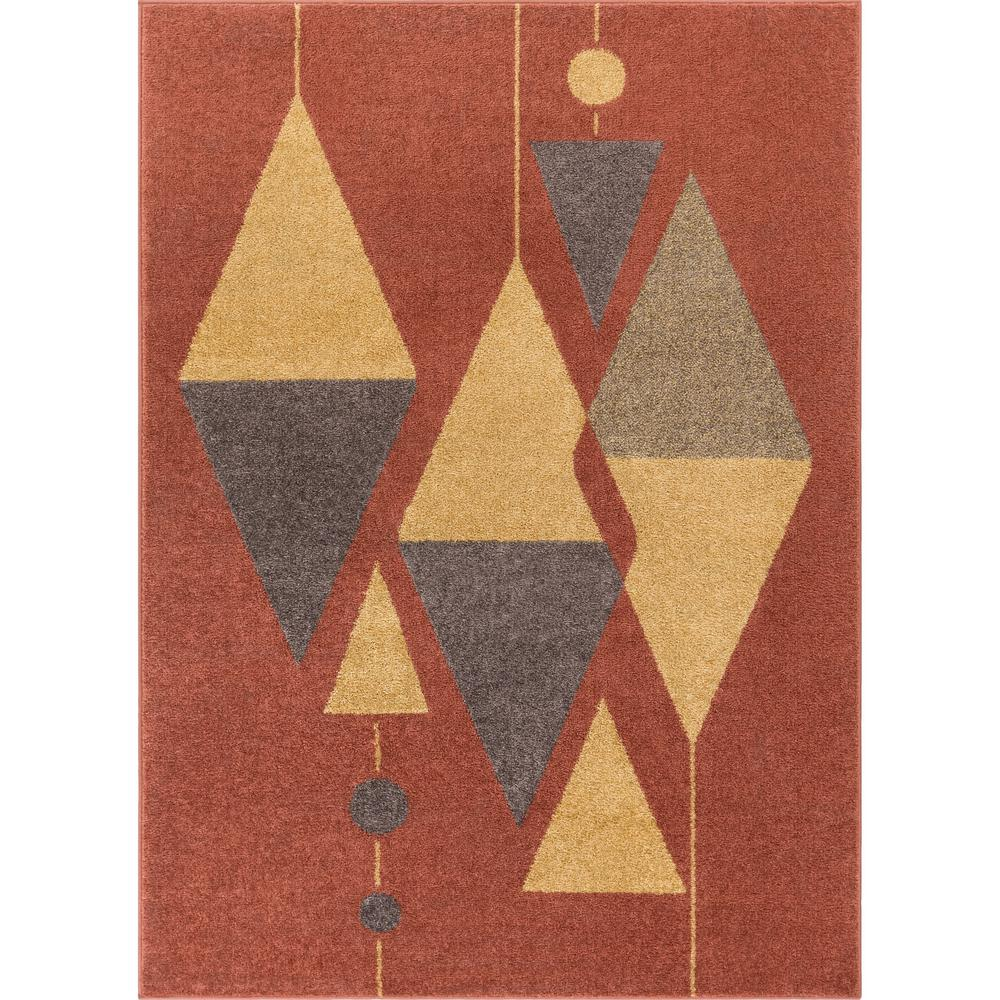 Mid Century Modern Rug: Well Woven Mystic Scarlett Mid-Century Modern Geometric