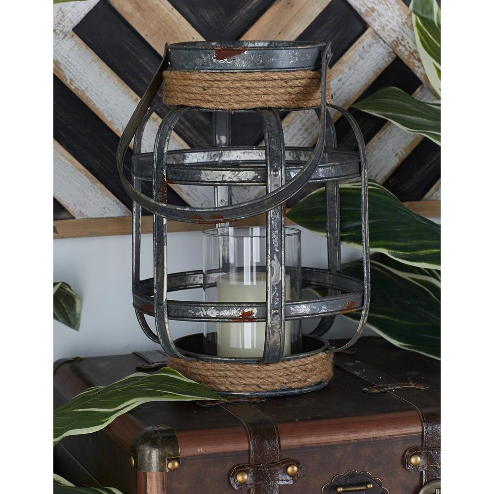 13 in. Iron Gray Cross-Weave Candle Lantern with Jute Wrap
