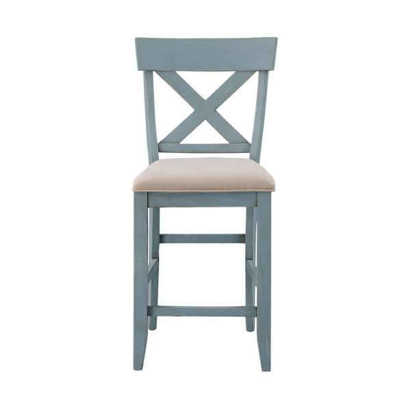 Coast To Coast Bar Harbor Blue Counter Height Dining Chairs Set Of 2 40300 The Home Depot