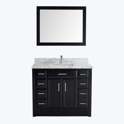 Calais 42 in. W x 22 in. D Vanity in Espresso with Marble Vanity Top in Gray with White Basin and Mirror