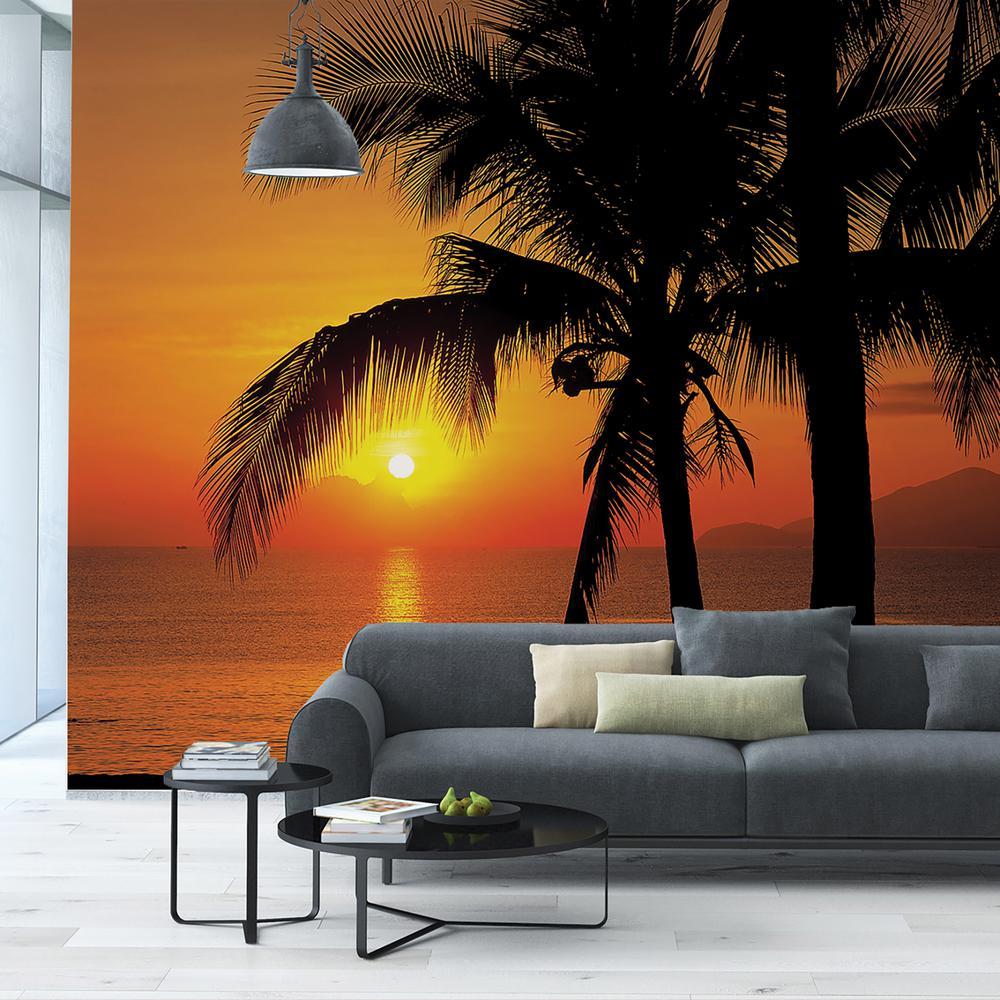 Komar 100 in. x 145 in. Palmy Beach Sunrise Wall Mural
