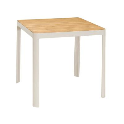 Portals Outdoor Square Bar Table In Light Matte Sand with Natural Teak Wood Top