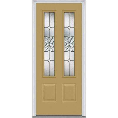 32 in. x 80 in. Cadence Right-Hand Inswing 2-Lite Decorative 2-Panel Classic Painted Steel Prehung Front Door