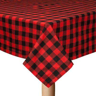 Buffalo Check 60 in. x 104 in. Black/Red 100% Cotton Table Cloth for any Table