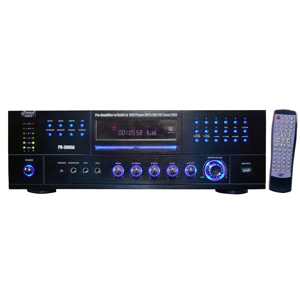 3000 Watt AM-FM Receiver with Built-In DVD/MP3/USB