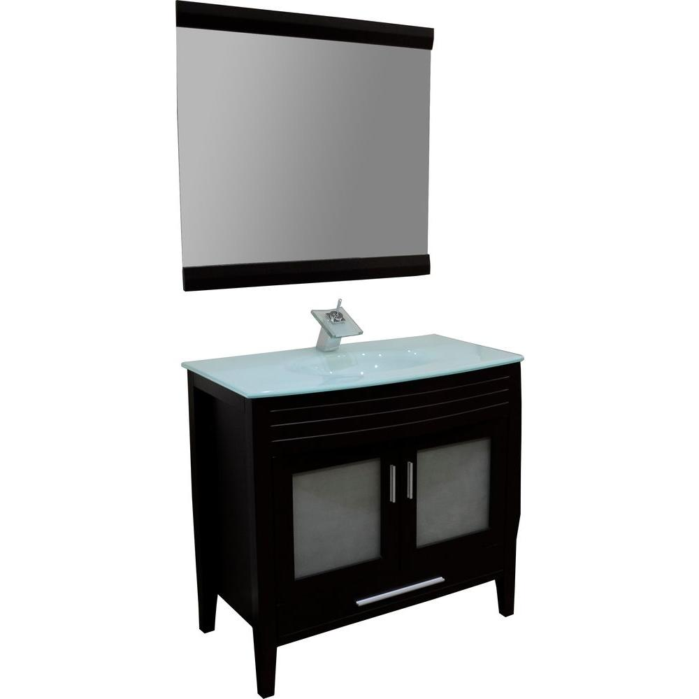 KBD Designs Cynthia 36 in. Vanity in Espresso with Glass Vanity Top in Aqua