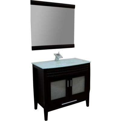 Cynthia 36 in. Vanity in Espresso with Glass Vanity Top in Aqua