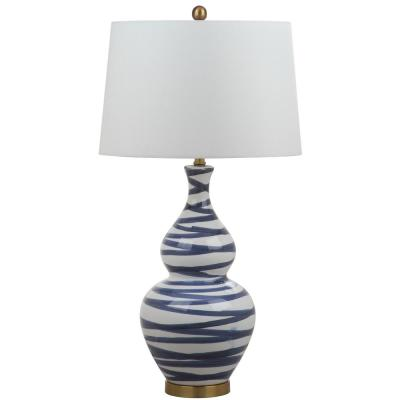 Aviana 31 in. White/Blue Brushed Gourd Table Lamp with White Shade