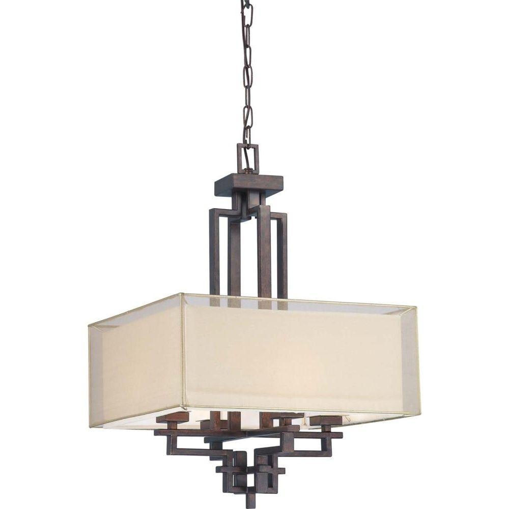 Glomar 4-Light Pendant with Gold Sheer & Beige Linen Fabric Shade Finished in Corvo Bronze-DISCONTINUED