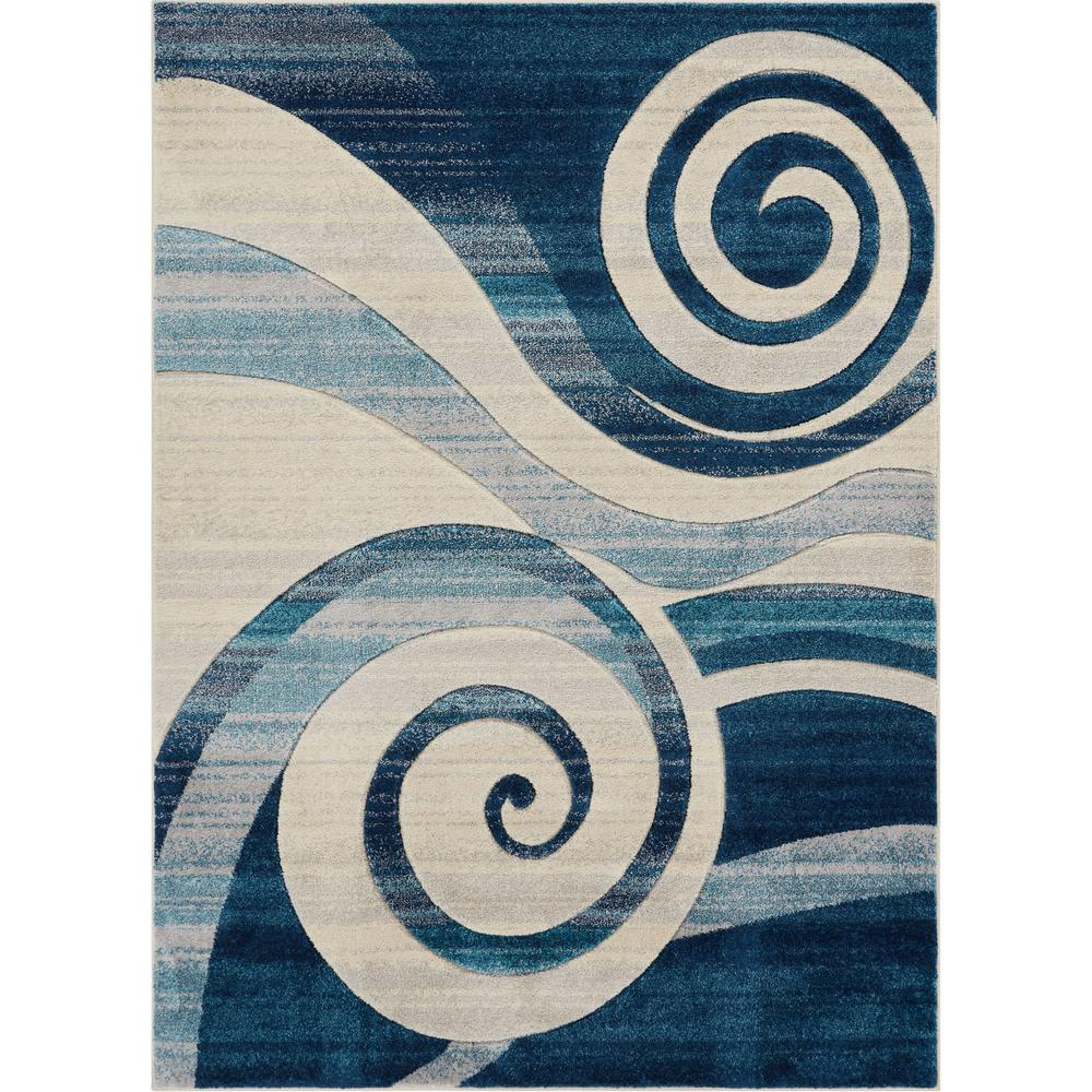 Ruby whirlwind 3 ft 11 in x 5 ft 3 in modern geometric abstract swirls blue area rug