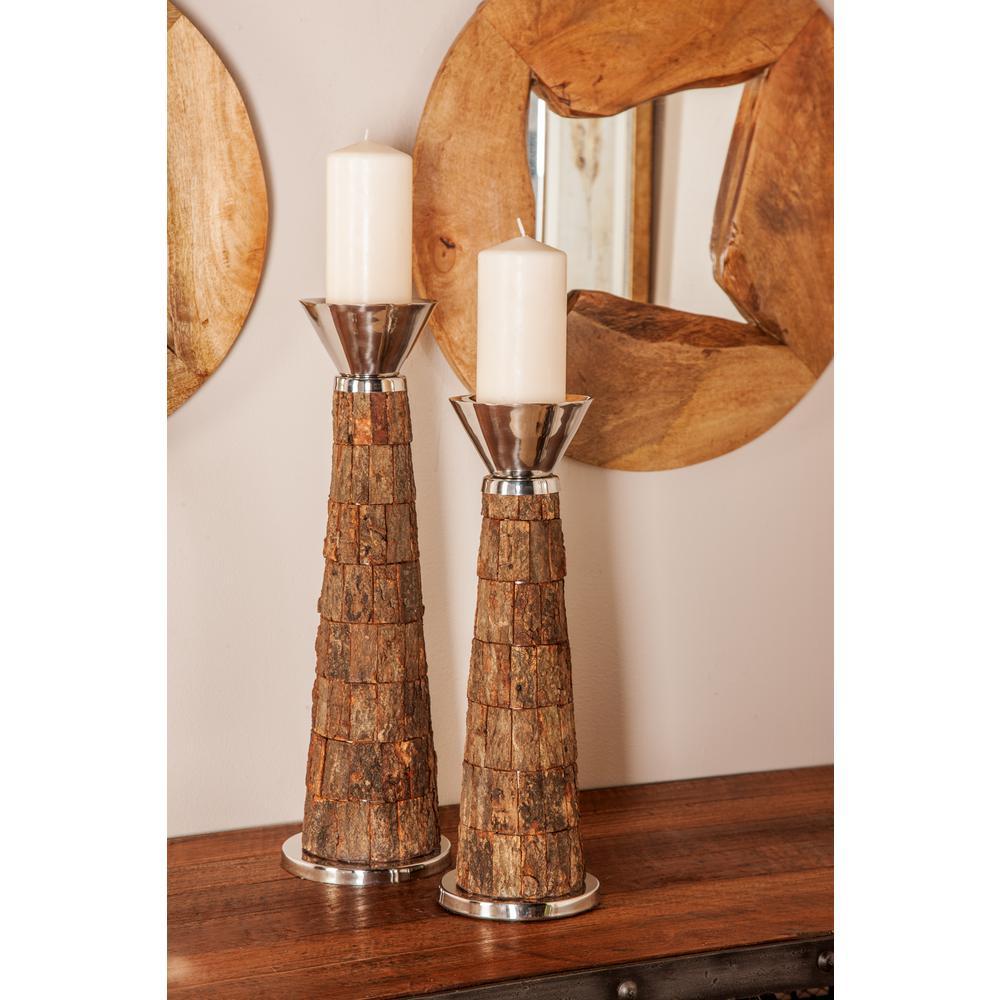 Litton Lane Dark Brown Mango Wood Cone-Shaped Candle Holders (Set of