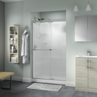 Everly 48 x 71 in. Frameless Contemporary Sliding Shower Door in Nickel with Rain Glass