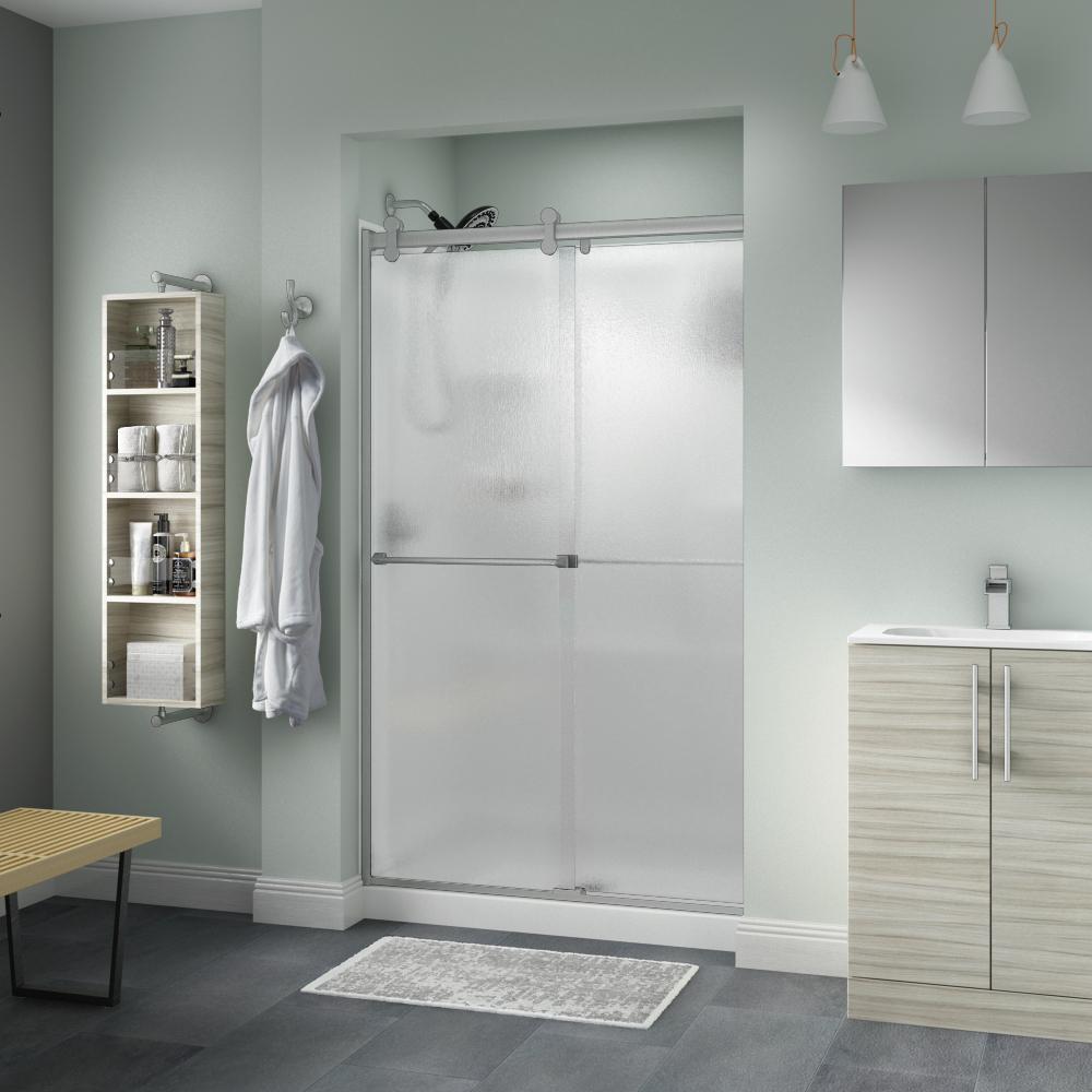 Semi-Frameless Contemporary Sliding Shower Door in & Rain - Shower Doors - Showers - The Home Depot
