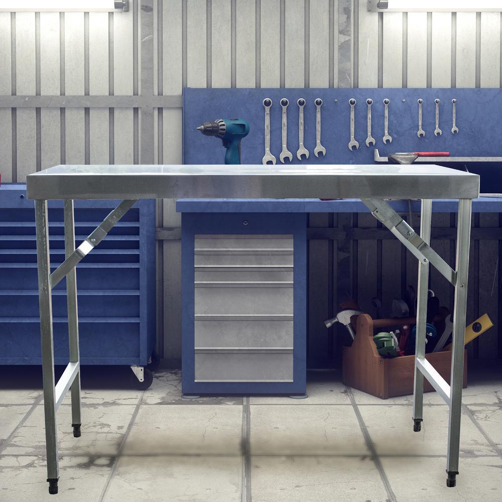Sportsman 48 in. x 24 in. Stainless Steel Portable Folding Workbench