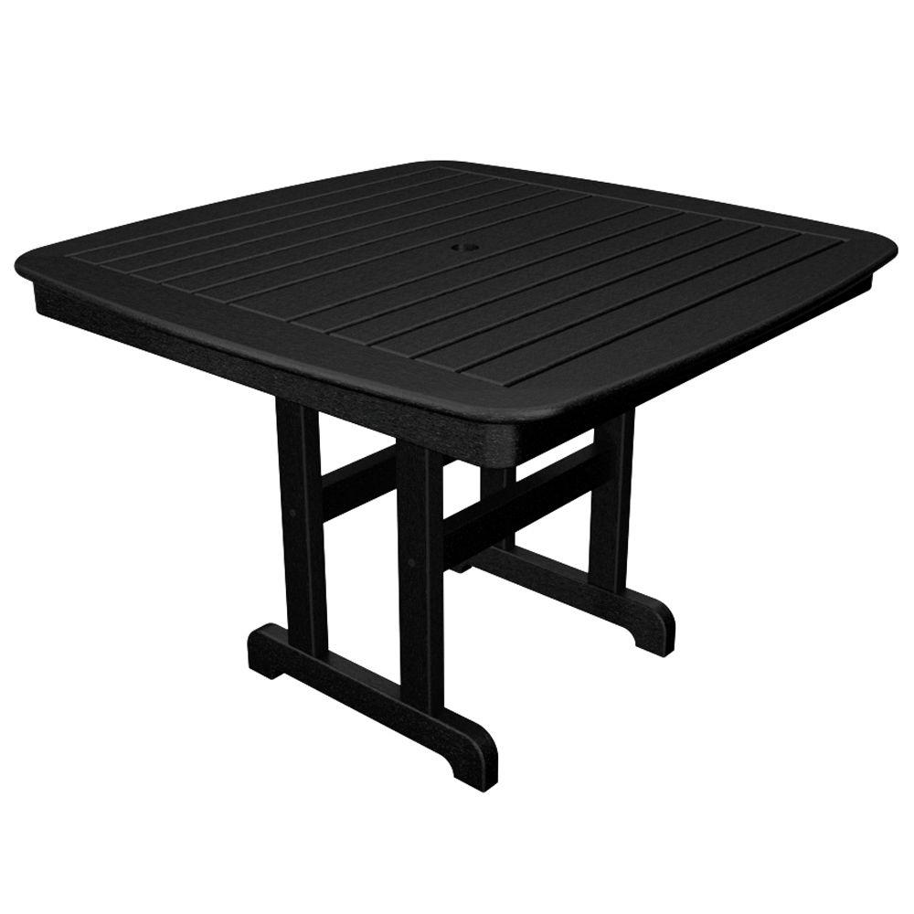 Yacht Club 44 in. Charcoal Black Patio Dining Table