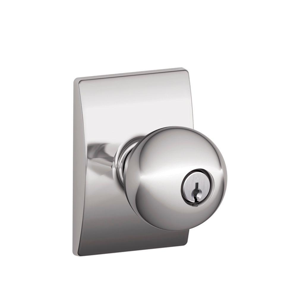 Century Collection Bright Chrome Orbit Keyed Entry Knob