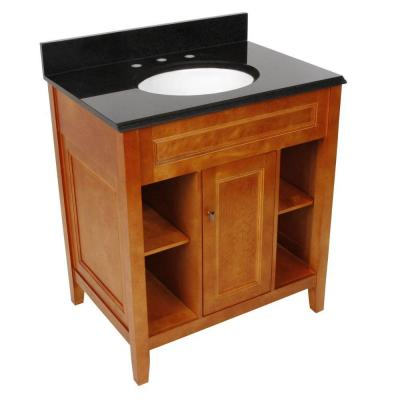 Exhibit 31 in. W x 22 in. D Bath Vanity in Rich Cinnamon with Granite Vanity Top in Midnight Black with Oval White Basin