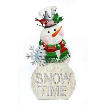 It's Snow Time Metal Snowman Porch with 104 LEDs