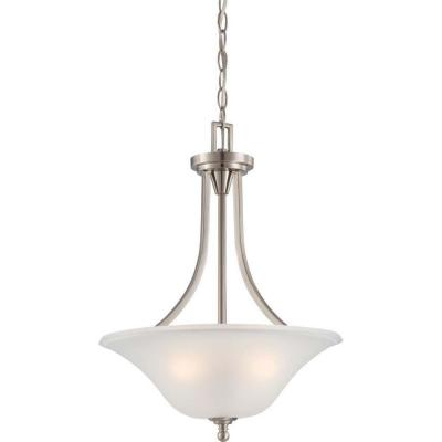 3-Light Brushed Nickel Pendant with Frosted Glass
