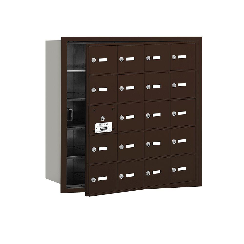 Salsbury Industries 3600 Series Bronze Private Front Loading 4B Plus Horizontal Mailbox with 20A Doors (19 Usable)