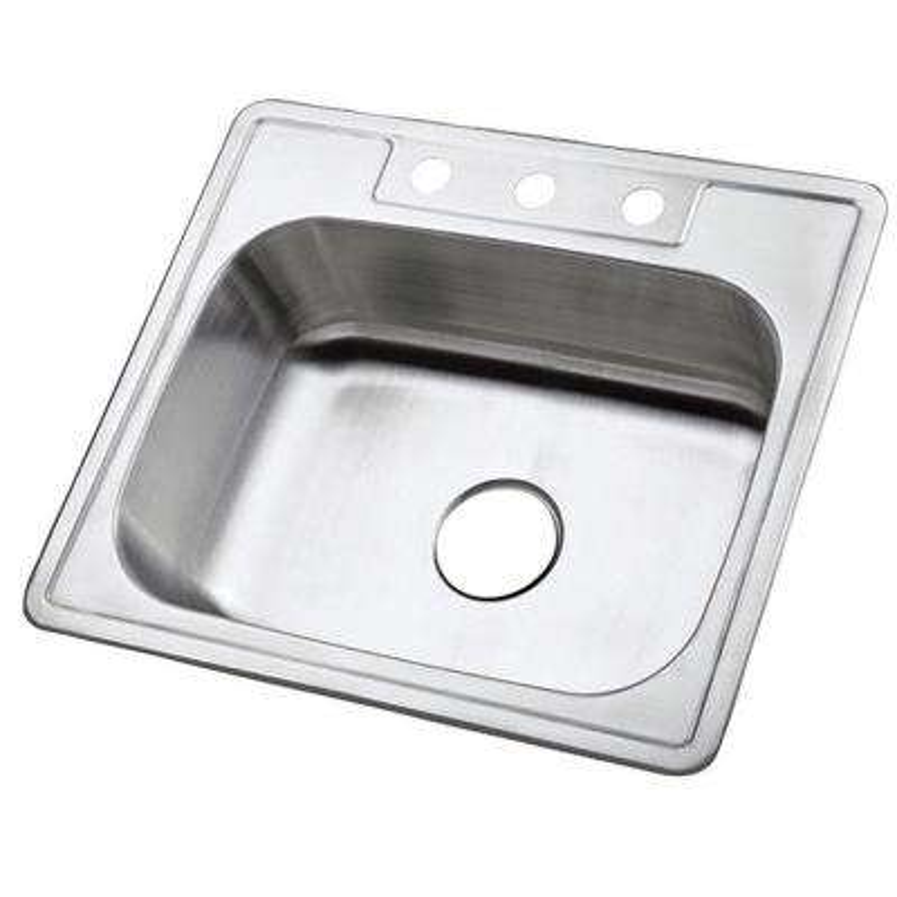 Drop-in Stainless Steel 25 in. 3-Hole Single Basin Kitchen Sink