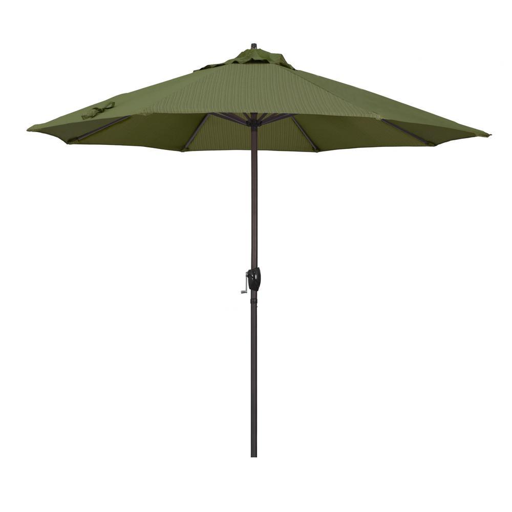 a7a51acabca1 California Umbrella 9 ft. Bronze Aluminum Market Patio Umbrella Auto Tilt  Crank Lift in Terrace Fern Olefin