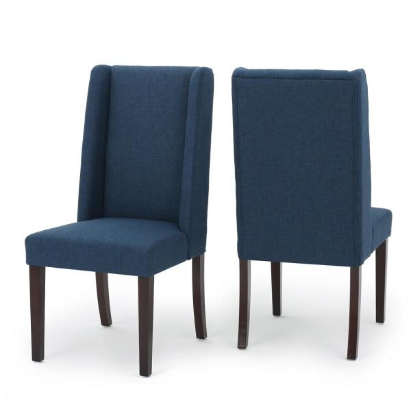 Le House Braelynn Navy Blue Fabric Wing Back Dining Chair