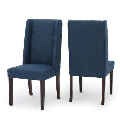 Braelynn Navy Blue Fabric Wing Back Dining Chair (Set of 2)