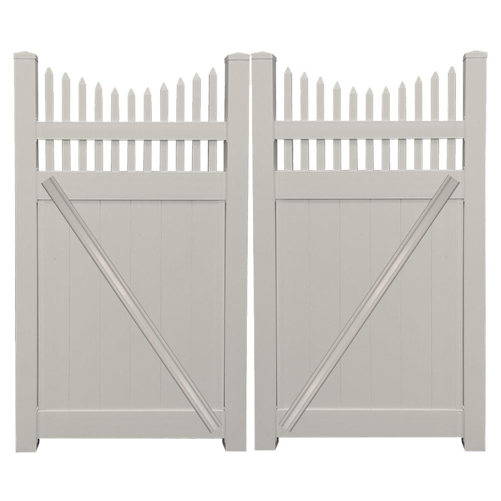 Vinyl fence double gate Double Wide Tan Vinyl Privacy Fence Double Gate Kit Syuoninfo Weatherables Halifax 74 Ft Ft Tan Vinyl Privacy Fence