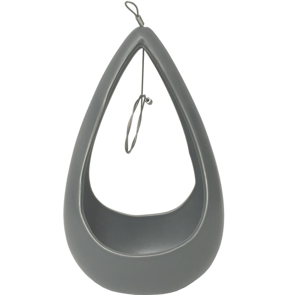 Cone 8-1/2 in. x 5-1/4 in. Light Gray Ceramic Hanging Planter