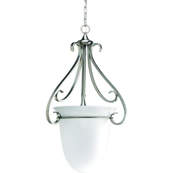 Torino 3-Light Brushed Nickel Foyer Pendant with Etched Glass