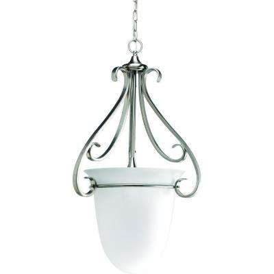 Torino Collection 3-Light Brushed Nickel Foyer Pendant with Etched Glass