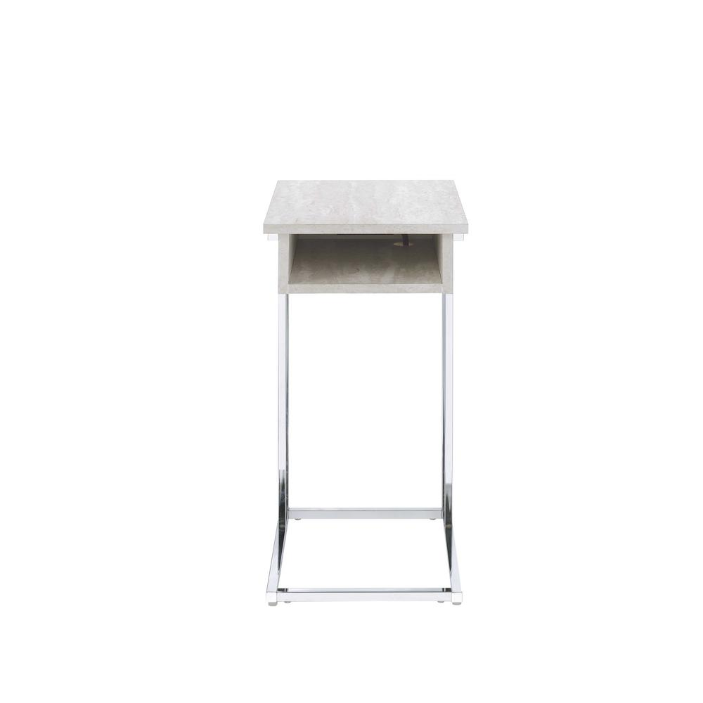 Hamlin Whitewashed and Chrome Side Table