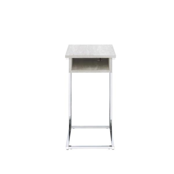 Acme Furniture Hamlin Whitewashed and Chrome Side Table 84654
