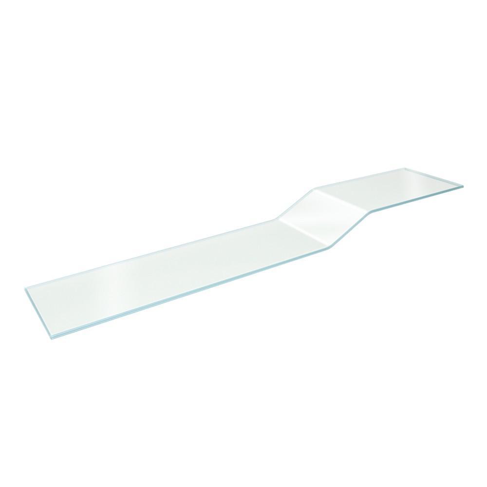 Vincenza Curvo 8 in. x 40 in. Clear Glass Shelf with 2 Pelican Brackets