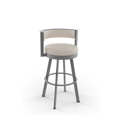 Browser 26 in. Cream Faux Leather Glossy Grey Metal Swivel Counter Stool
