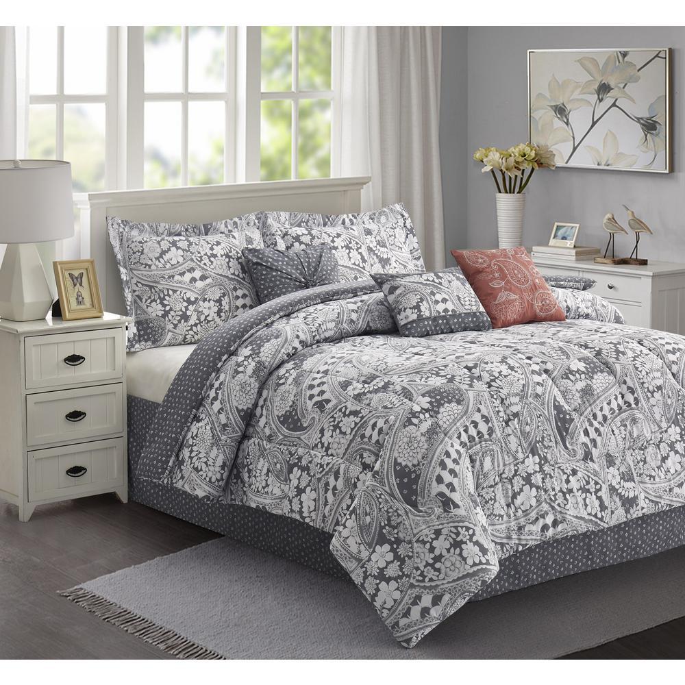 Ellie 7-Piece Grey Floral Queen Comforter Set