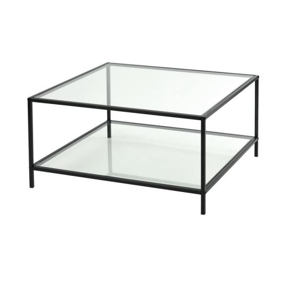 Hudd 13.4 in. Clear Glass Square Coffee Table