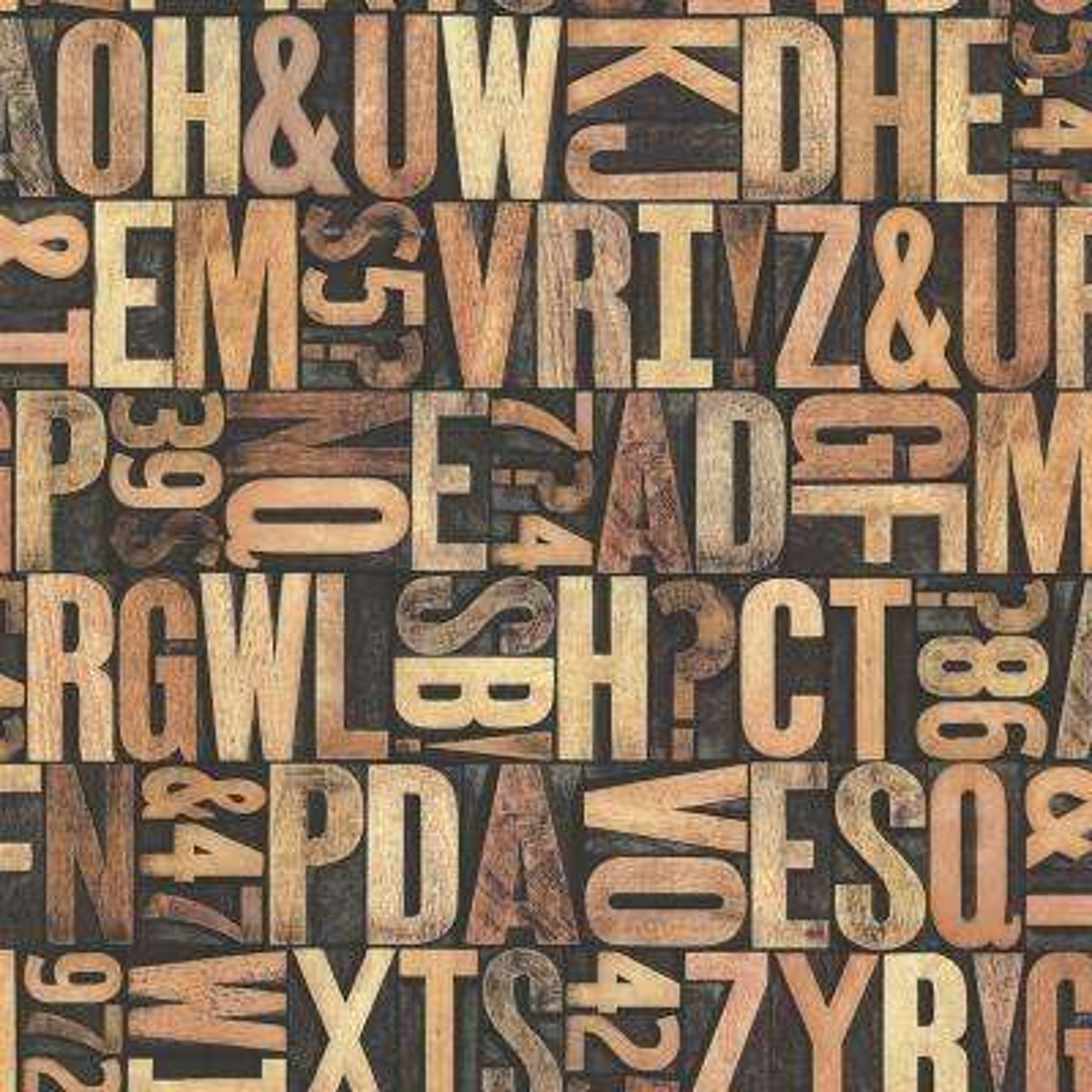Letterpress Sand Typography Wallpaper Sample