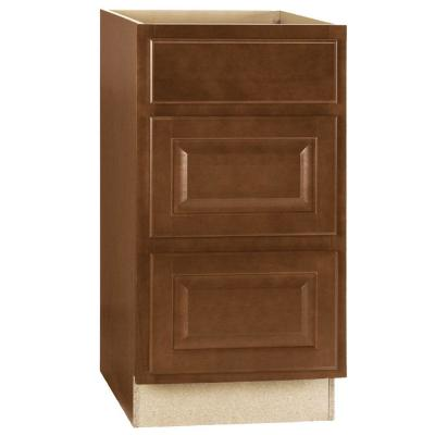 Hampton Assembled 18x34.5x24 in. Drawer Base Kitchen Cabinet with Ball-Bearing Drawer Glides in Cognac