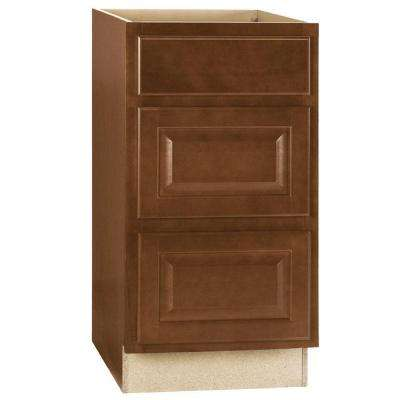 Hampton Assembled 18x34.5x23 in. Drawer Base Kitchen Cabinet with Ball-Bearing Drawer Glides in Cognac
