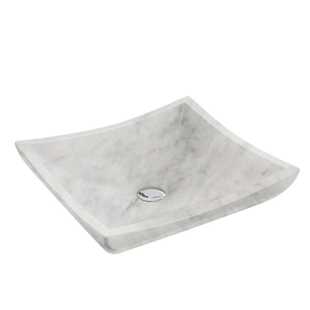 Wyndham Collection Avalon Vessel Sink in White Carrera