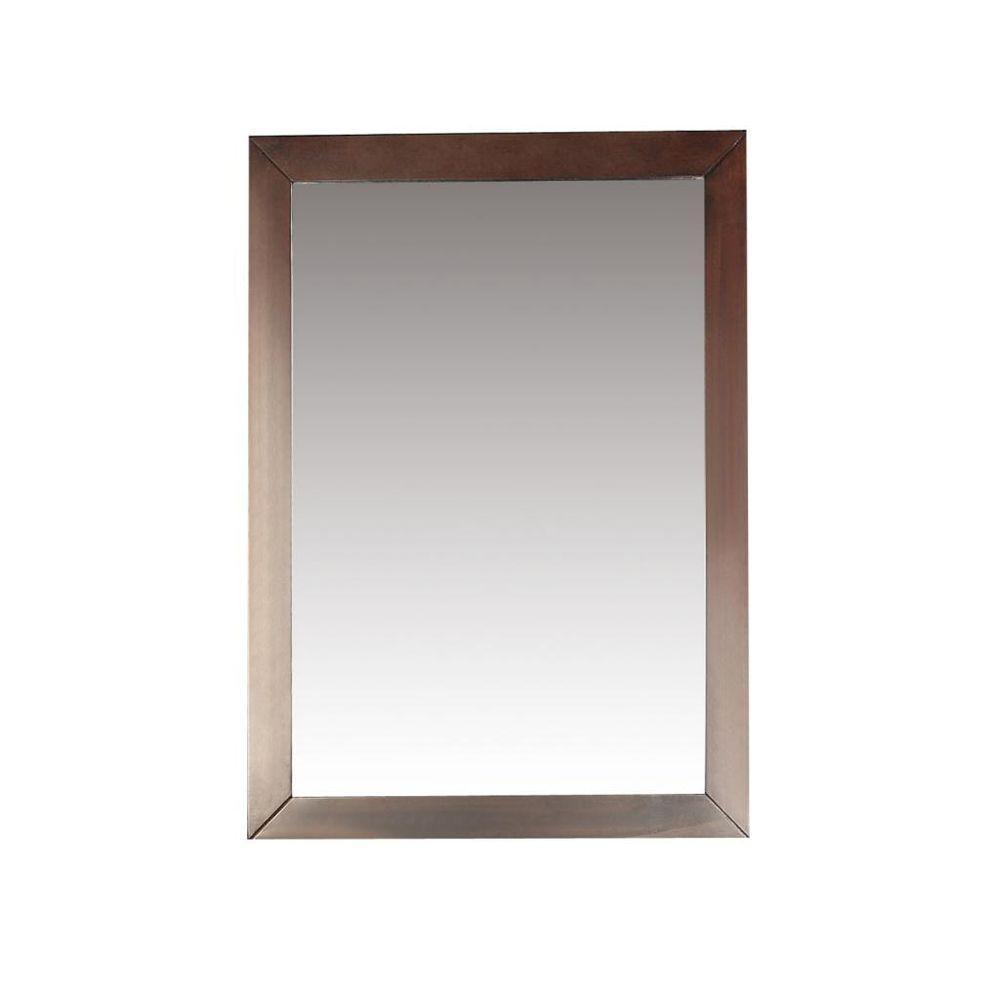 Burnaby 30 in. L x 22 in. W Framed Wall Mirror in Dark Walnut Brown