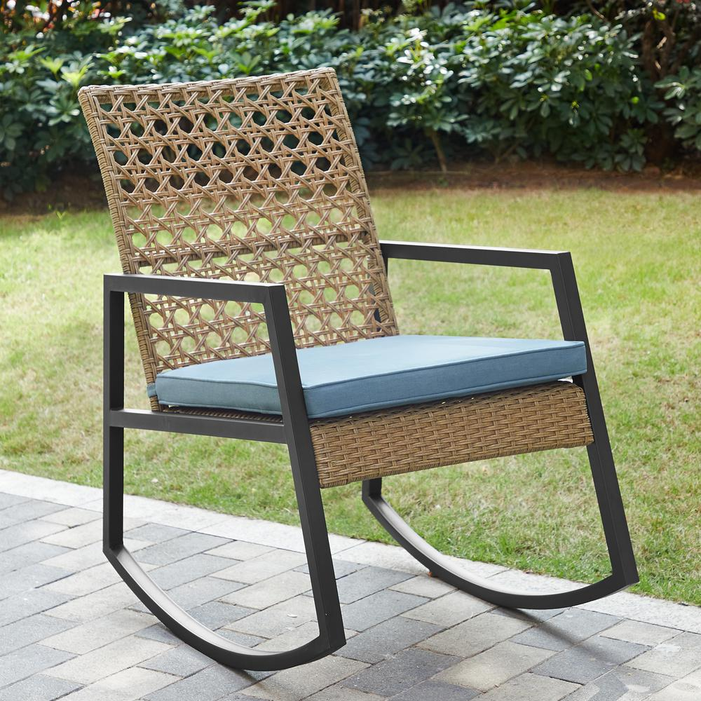 Surprising Walker Edison Furniture Company Light Brown Rattan Modern Patio Rocking Chair With Blue Cushion Ibusinesslaw Wood Chair Design Ideas Ibusinesslaworg