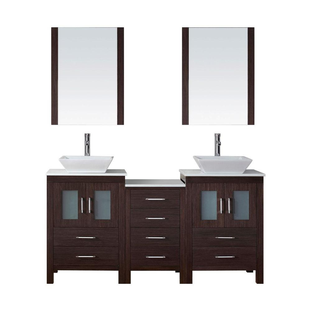 Virtu USA Dior 67 in. W Bath Vanity in Espresso with Stone Vanity Top in White with Square Basin and Mirror and Faucet